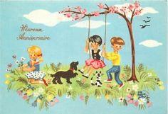 ILLUSTRATEUR  ENFANTS  BALANCOIRE  CHIEN  ANNIVERSAIRE