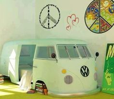 This van as a bed would be so fun. I've always liked hippy vans and having one I can sleep in every night in my house would be awesome.
