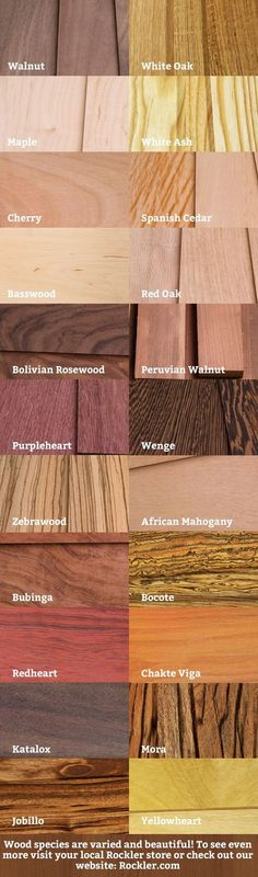 A Visual Guide to Wood Species: To see more visit a local Rockler store or visit… - Woodworking Ideas Woodworking Jigs, Carpentry, Woodworking Projects, Woodworking Beginner, Popular Woodworking, Woodworking Articles, Woodworking Organization, Intarsia Woodworking, Got Wood