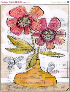 25% OFF whimsical watercolor painting of flowers and by corid