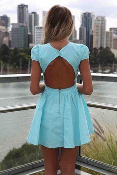 #blue #dress #openback #cutout #fashion #girl