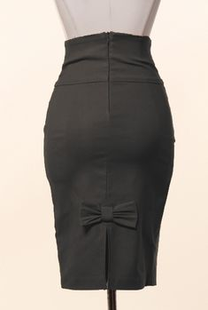 Business Casual Bow Back High Waist Pencil Skirt in Black | Sincerely Sweet Boutique