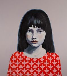 Claerwen James   Girl in Red and Pink against Grey 2012  courtesy Flowers Gallery