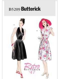 Items similar to Halter Dress Sleeveless Fit and Flare Dress Marilyn Monroe Style Shaped Midriff Retro Butterick 5209 Sizes Women's Sewing Pattern on Etsy Evening Dress Patterns, Summer Dress Patterns, Dress Sewing Patterns, Vintage Sewing Patterns, Summer Dresses, Pattern Sewing, Pattern Dress, Moda Mania, Deep V Neck Dress