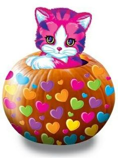 Happy Halloween kitty by Lisa Frank Colorful Pictures, Cute Pictures, Hello Kitty Drawing, Lisa Frank Stickers, 90s Childhood, Childhood Memories, 90s Cartoons, Vintage Fisher Price, Sketch Painting