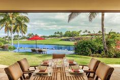 Large Lanai Overlooks Jack Nicklaus Signature Golf Course at Hualalai Four Seasons Resort .  #resortphotography
