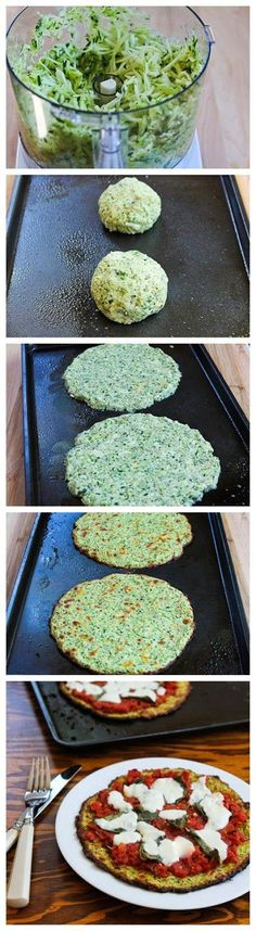 Zucchini-Crust Vegetarian Pizza Ingredients: Crust Ingredients: 4 cups grated then chopped fresh zucchini (one large zucchini about a foot long, or several smaller ones) Get full recipe herehttps://www.facebook.com/Coachmikepeter #healthypizza