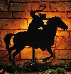 Western Cowboy Home Decor | Western Cowboy Rider Lighted Silhouette Wall Decor