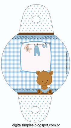 Kit Digital para Imprimir, Ursinho Marrom e Azul, para Chá de Bebê, Chá de Fraldas e Aniversário.