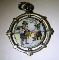 "Antique Art Nouveau Austrian Silver Enamel Couple Dancing Charm Waltz J Strauss, 13/16"" BY 13/16"" | eBay, $220.00"
