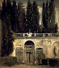 Serlo Sebastiano: Serlienne dans le jardin de la villa Médicis par Vélasquez- La serlienne (ou fenêtre palladienne), est un groupement de 3 baies (ou triplet) dont la baie centrale est couverte d'un arc avec plein cintre, les 2 baies latérales sont couvertes d'un linteau (ou d'un arc en plate bande) à hauteur de l'imposte. Les baies latérales sont en général plus étroites que la baie centrale, dans les cas extrêmes, elles peuvent se restreindre à un jour étroit.