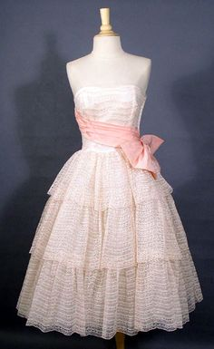 vintage ivory and pink lace prom dress with fitted bodice, tired skirt & pink taffeta sash