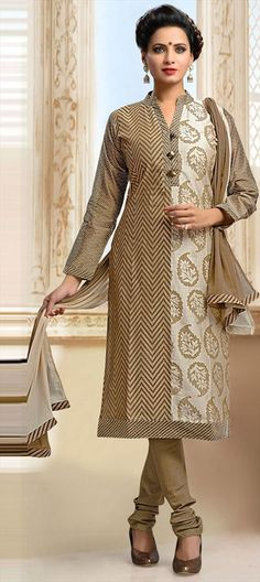 452377 Beige and Brown color family Party Wear Salwar Kameez in Art Silk fabric with Lace,Machine Embroidery,Printed,Resham work .