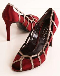 Valentino - burgundy satin heels not a heel girl but these rock