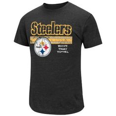 NFL Mens Pittsburgh Steelers Victory Gear V Tri Black Heather Short Sleeve Crew Triblend Tee by Majestic. $22.99. Short Sleeve Crew Neck Tri-Blend Tee. Nicaragua. Self Fabric Neck Band. Straight Bottom Hem. Cotton 50%/Polyesther 37%/Rayon 13%. Suit Up For Victory In This Victory Gear V Short Sleeve Top. Short Sleeve Crew Neck Tri-Blend Tee With Weathered Screenprint Design Ensure You Will Win Any Gameday Style Battle. Your Favorite Nfll Team'S Wordmark, Logo A...