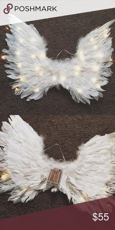 Light Up Angel Wings Super cute feathery white angel wings with a light up switch feature. One side of the wing is bent but it is extremely unnoticeable. Great for a Victoria's Secret angel costume, raves, festivals, concerts, parties, etc.  Closet Rules/Info: ♦️No self-promotion ♥️I am open to trades ♦️No other websites ♥️Bundle other items to save ♦️Make an offer instead of asking for a certain price on the comments ☝SERIOUS BUYERS ONLY ☝SCAMMERS BEWARE   Shipping Days ✈️Monday ✈️Wednesday…