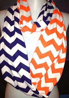 Orange and Navy Chevron Scarf Fall Scarf Infinity by Phatcatpatch