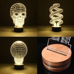 Skull 3D Illusion Bulb LED Night Light USB Table Desk Wood Energy Saving Lamp  #UnbrandedGeneric