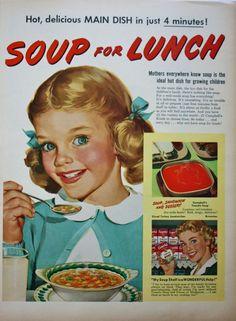 1950s Campbells Soup Cute Little Girl Pigtails Print ad #Campbells