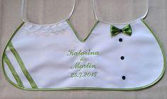 galanteria / Dvojitý svadobný podbradník Ona a on maxi zelený s výšivkou