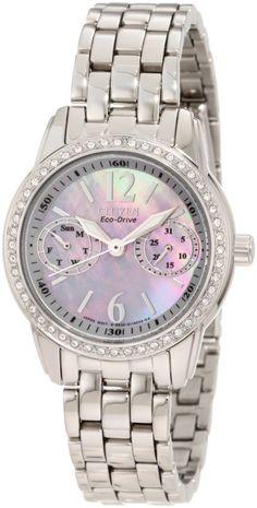 Citizen Women's FD1030-56Y Eco-Drive Silhouette Crystal Watch, (eco-drive, citizen eco-drive, womens watch, stainless steel, citizen, watches, diamond bezel, solar powered, waterproof, casual watch)