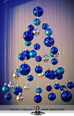 Modern hanging Christmas tree using fishing line.