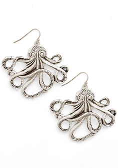 "Zad Octopus Earring Measurements (approx.): 1 5/8"" long Materials: Antique gold and Silver metal"