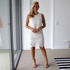 When returning to work after summer holidays it's best to wear white to show off your tan  . . . @marcs_clothing dress (not current) | @stevemadden wedges . . . #everydaystyle#brisbaneanyday#styleinspiration#ootd#brisbaneblogger#dailylook#fashionista#fashiondiaries#fblogger#fashionblogger#australianfashion#brisbanestyle##blonde#lace#wiw#instafashion#style#fashion#lookbook#me#30plusstyle#streetstyle#sydney#melbourne#lacedress#summerstyle#tan#spotmystyle#sharedmystyle