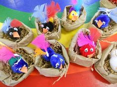 "More paper bag nests - with spring birds ("",)"