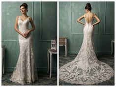 Straps V-neckline Lace Low Backless Wedding Dress