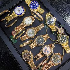 """A lot of options... Which combo would you take? #rolex #cartier #allavailable"""