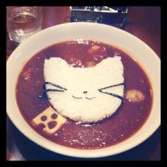 [ねこランチ*2012/04/03]    本日のランチ♫    ねこねこハッシュドビーフ^>ω<^ ¥840      @MIRACLE FRUIT CAFE (ナンジャタウン/池袋)