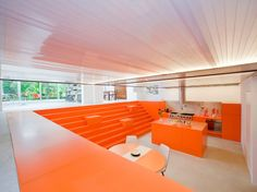 A bright-orange polyurethane coating rescues the dugout from any suggestion of darkness or dinginess.