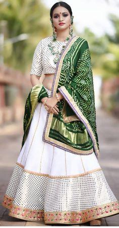 Adorable White & Green Lehenga choli order contact my whatsapp number 7874133176 Indian Bridal Outfits, Indian Fashion Dresses, Indian Designer Outfits, Green Lehenga, Indian Lehenga, Rajasthani Lehenga Choli, Sabyasachi Lehengas, Lehenga White, Indowestern Lehenga