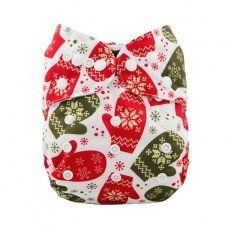 Christmas Print One Size Double Snap Cloth Diaper