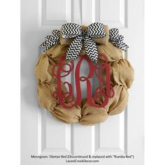 burlap monogram wreath | Monogram Burlap Wreath for Front Door Decor by LaurelCreekWreaths