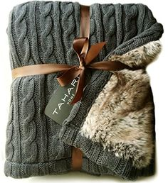 Luxury Cable Knit Throw with Faux Fur Reverse Knitted Cozy Blanket in Charocal and Chinchilla Brown Reversible double layer best Christmas gift