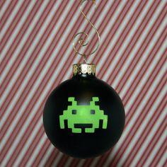 HANDMADE Green Space Invader on Black Globe Christmas Ornament. $7.95, via Etsy.