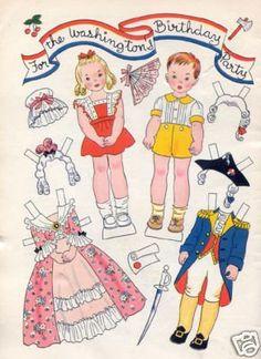 For the Washington's Birthday Party-Vintage Hilda Miloche paper dolls
