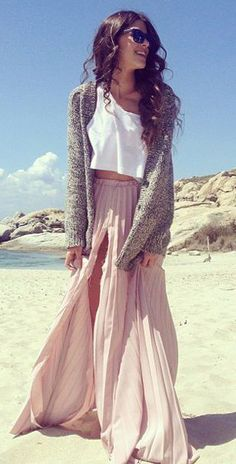 Pink Maxi Skirt white top summer outfits womens fashion clothes style apparel clothing closet ideas sunglasses