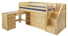 Low loft bed with stairs (steps) | MaxtrixOnline.com