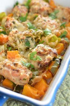 Slimming Eats Chicken, Leek and Butternut Squash Bake - gluten free, Slimming World (SP) and Weight Watchers friendly
