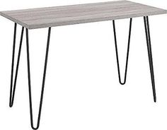 Ameriwood Industries Altra Owen Retro Desk, Metal Legs, Sonoma Oak and Gunmet...