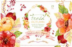 Fresh Autumn. Watercolor clipart by OctopusArtis on Creative Market