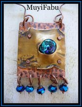 Mixed Metal and Dichroic Glass Pendant