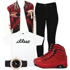 "Black/White ""Illest"" T-Shirt, Black Pants, Red/Black/Gray/White Tribal Print Varsity Jacket, Black/Gold Watch, Red/Black Jordans"