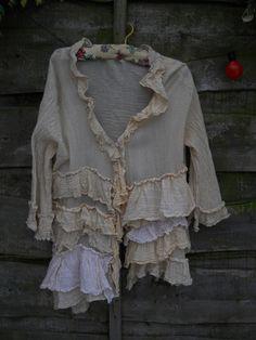 Authentic RITANOTIARA Victorian Romantic Lagenlook Cream Pearl Jacket Linen Rodeo Prairie look OSFA