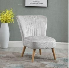 Scandinavian Retro Accent Chair Crush Velvet Wooden Legs Cream Velvet Accent Chair, Accent Chairs, Single Chair, Crushed Velvet, Wood Joinery, Chair Design, Scandinavian Furniture, Modern Design, Home And Living