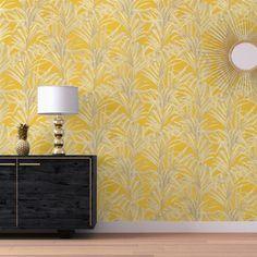 Papier peint DOMITILLE 100% intissé motif tropical, jaune moutarde - Saint Maclou Motif Tropical, Wall Lights, House Design, Curtains, Lighting, Wallpaper, Pattern, Rocks, Louvre