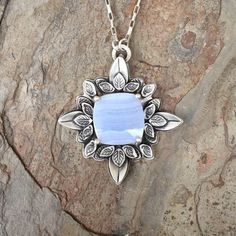 Blue Lace Agate and Fine Silver Necklace. Handmade Jewelry for Charity. NC122 by coldfeetjewelry on Etsy https://www.etsy.com/listing/520471220/blue-lace-agate-and-fine-silver-necklace